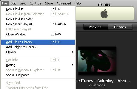 Add converted video to iTunes