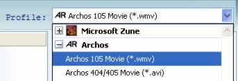 Archos Video Converter, video to Archos 105