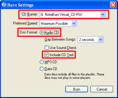 set noteburner virtual cd-RW as default burner