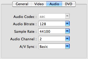 audio settings of target video