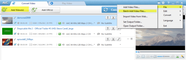 Add Files to in Video to DVD Converter