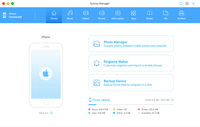 Syncios Phone Manager for mac homepage