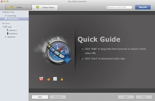 video downloader interface of Any Video Converter Free for Mac