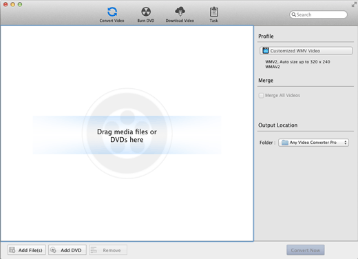 main windows of Any Video Converter: Mac video converter, Mac AVI Converter on Mac OSX