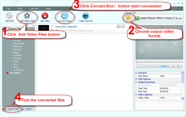 Main Window of MXF Video Converter