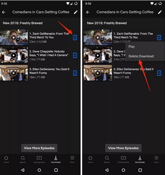 delete netflix titles on android