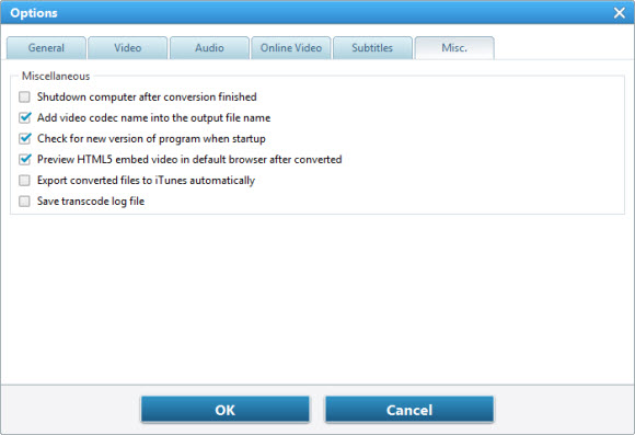 Advanced setting for any video converter 5 misc option ccuart Images