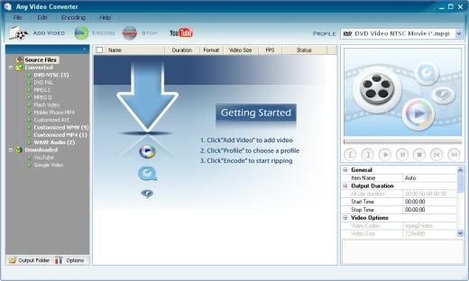 برنامج تحويل صيغ الفيديو الاكثر من رائع Any Video Converter 2.75