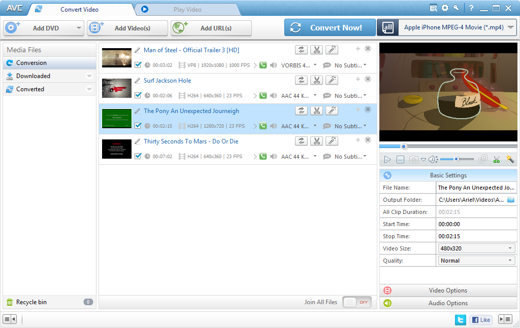Any Video Converter Pro. 5.0.7 Screen shot