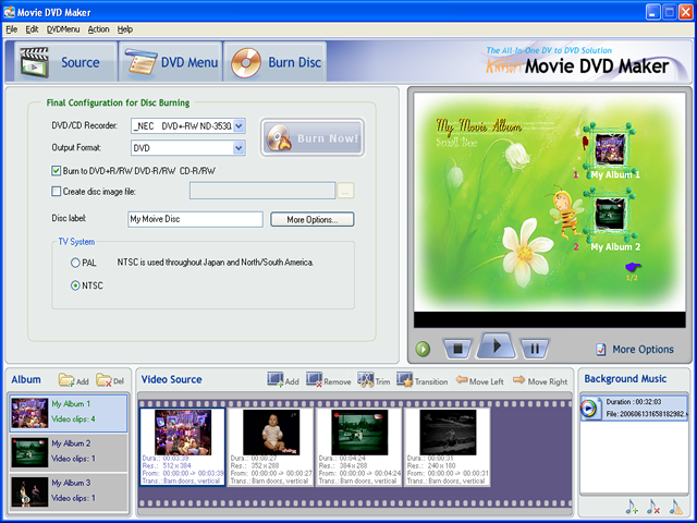 Screenshot movie dvd maker for Dvd flick menu templates download