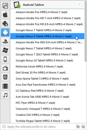Nexus 9 Video Converter, video to Nexus 9