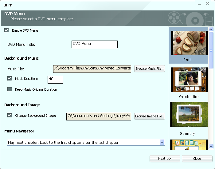 Create DVD/AVCHD movie with DVD Menu